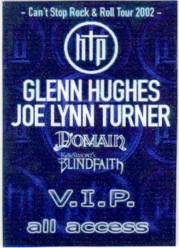 2002 Hughes Turner Project European Tour VIP All Access Pass
